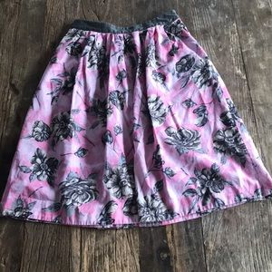 Odille Anthropology Pink Gray Floral Aline Skirt 6